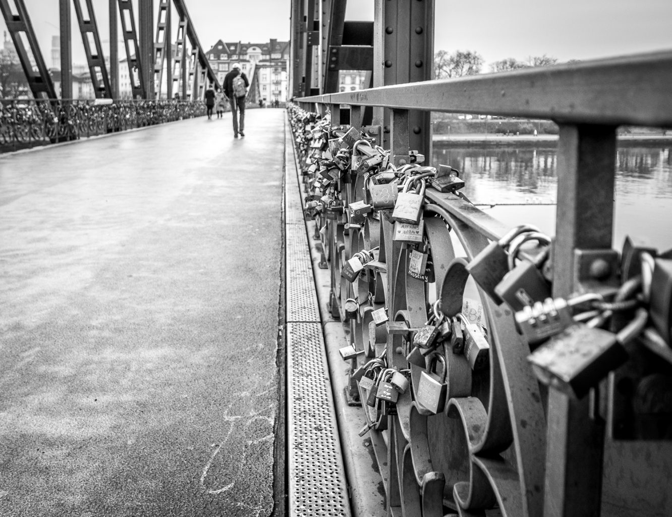 Frankfurt stopover - locks on bridge