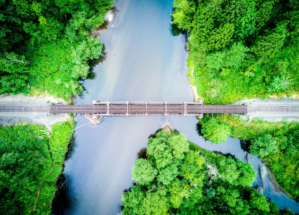 Explore Your Worlds: Drone photo of a bridge from directly above