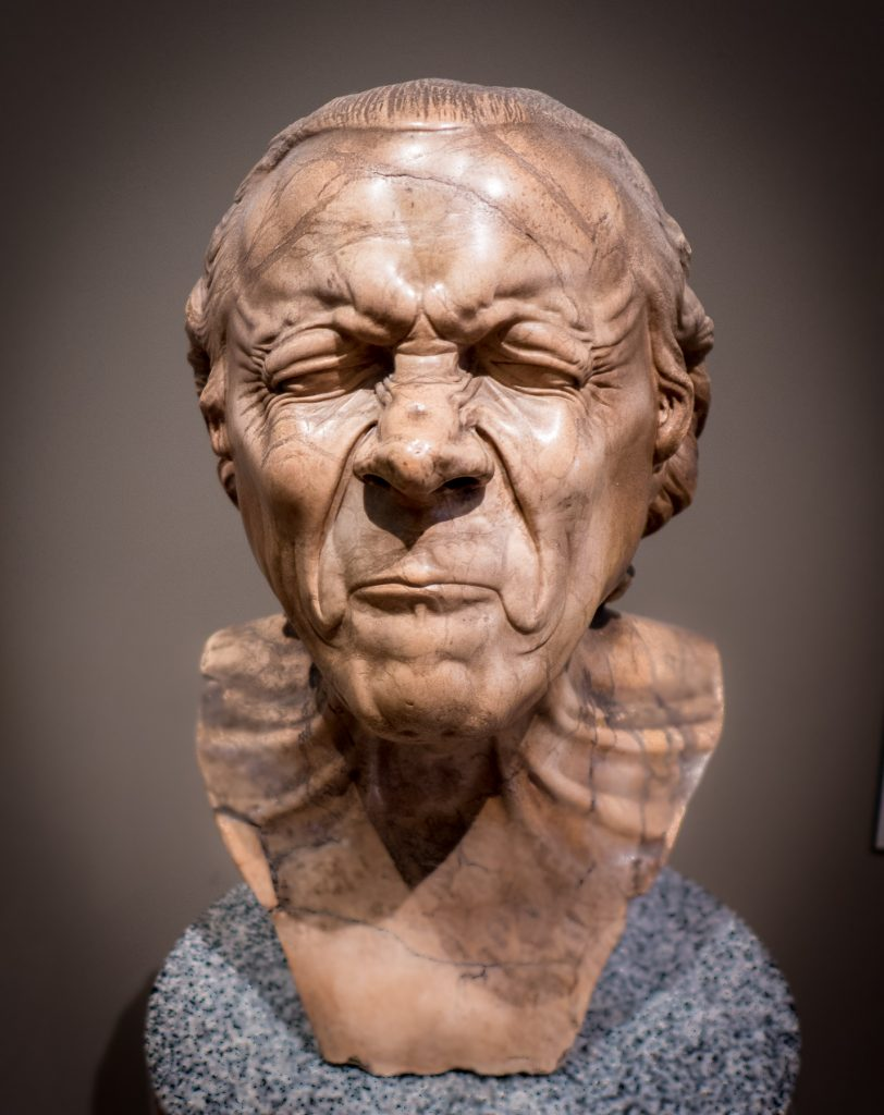 Museum: bust of insane man