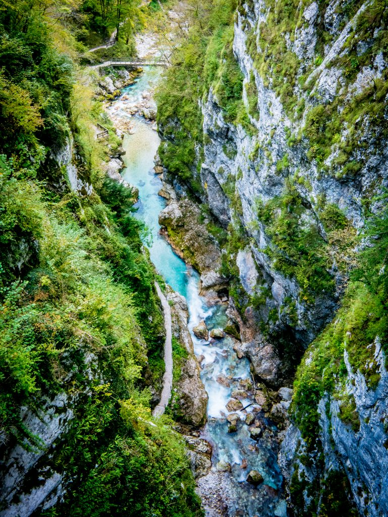 View from bridge above Tolmin Gorge