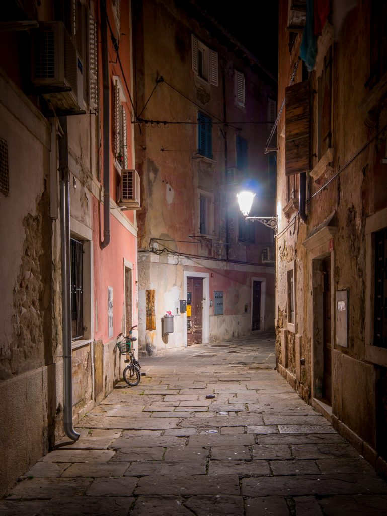 Piran street at night