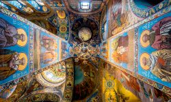 Look up: Church of the Savior on Spilled Blood ceiling looking directly up