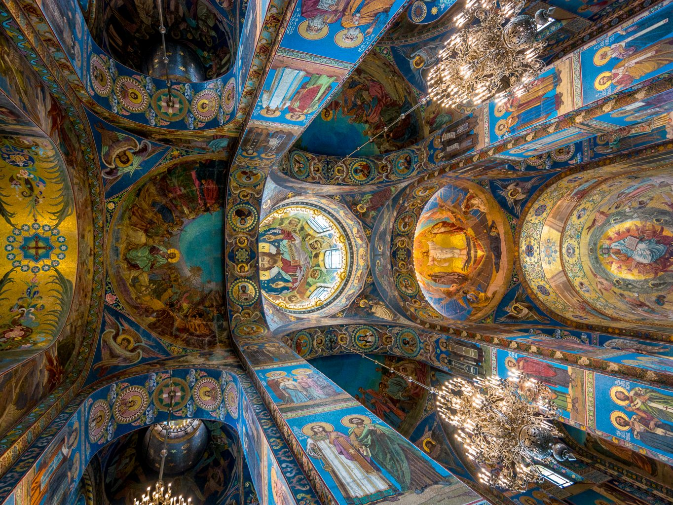 Look up at an angle in the Church of the Savior on Spilled Blood