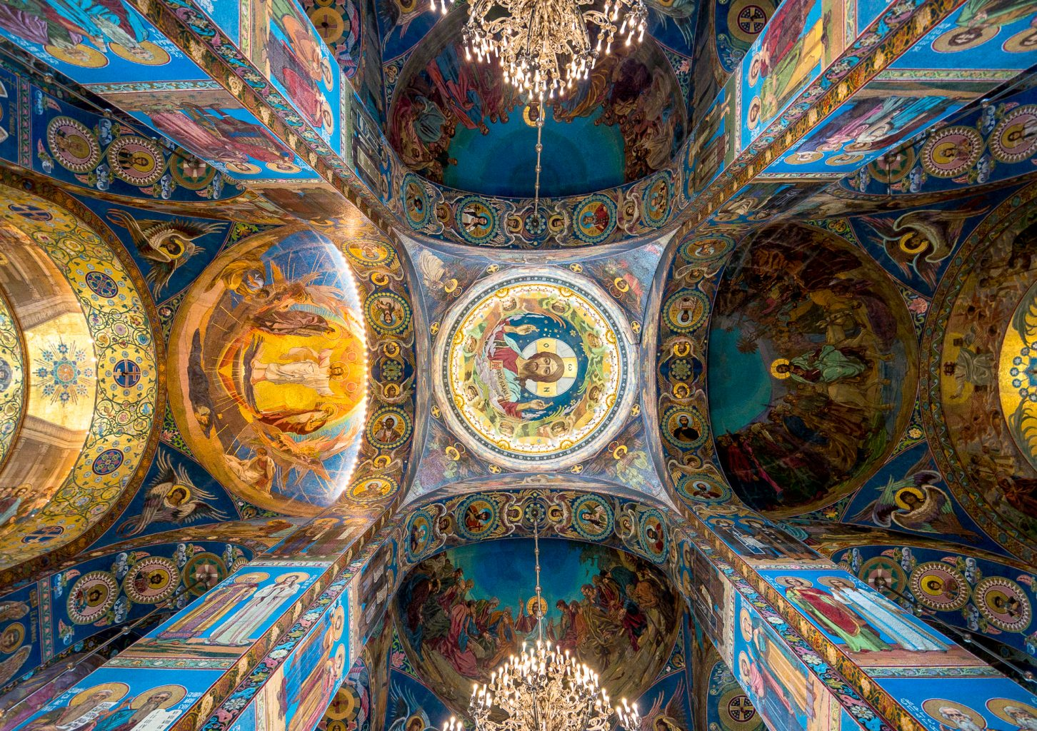 Look up to the Church of the Savior on Spilled Blood ceiling
