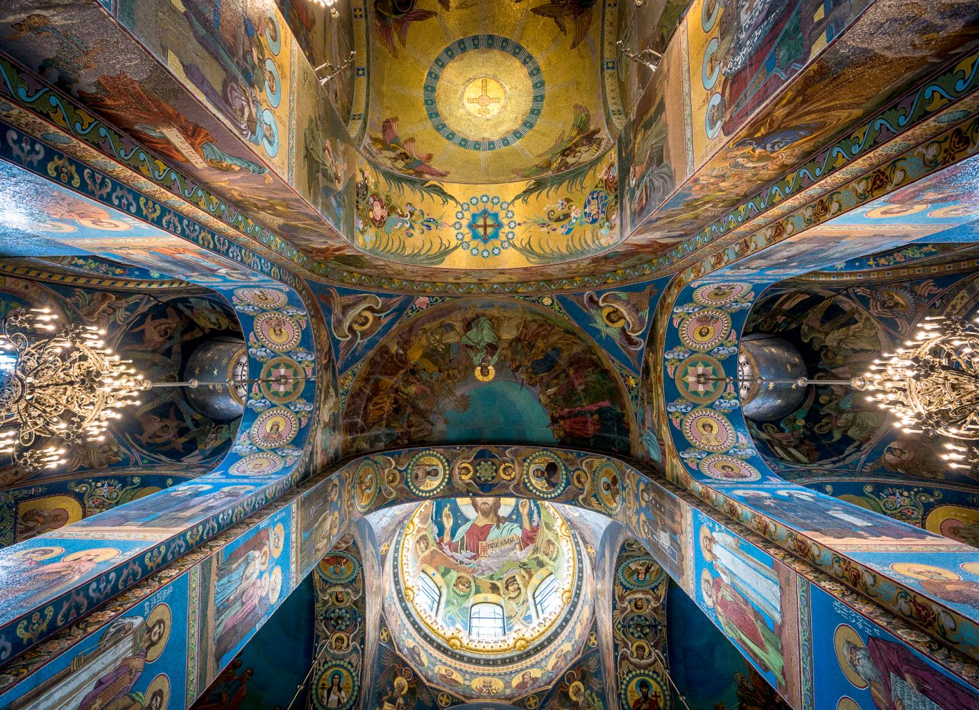 Church of the Savior on Spilled Blood ceiling looking directly up