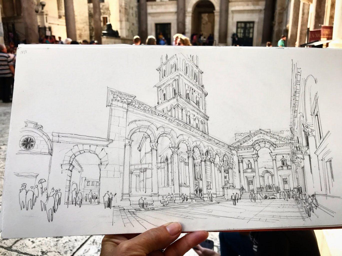 Sketch of Croatia building