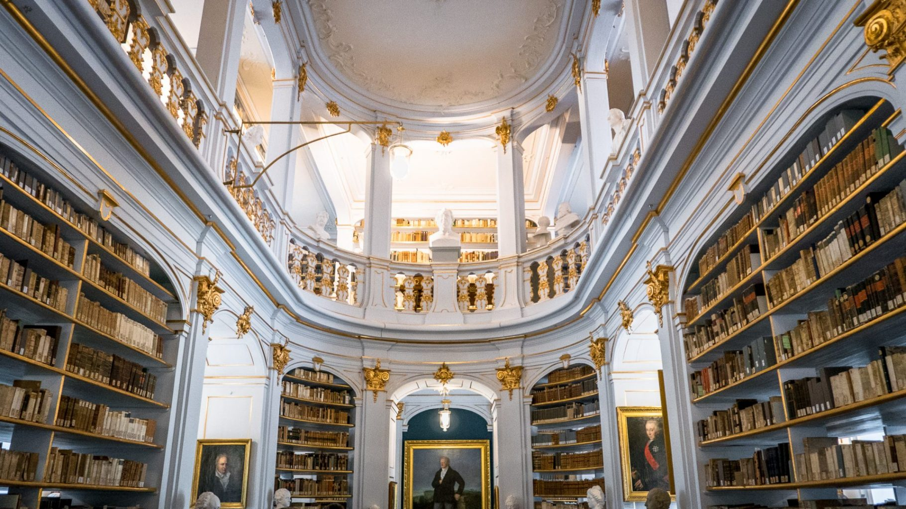Looking into the Duchess Anna Amalia Library in Weimar, Germany