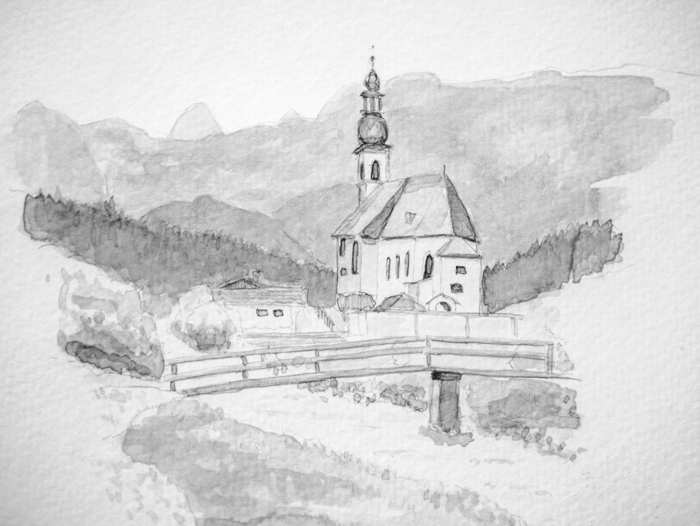 German church in pencil and ink