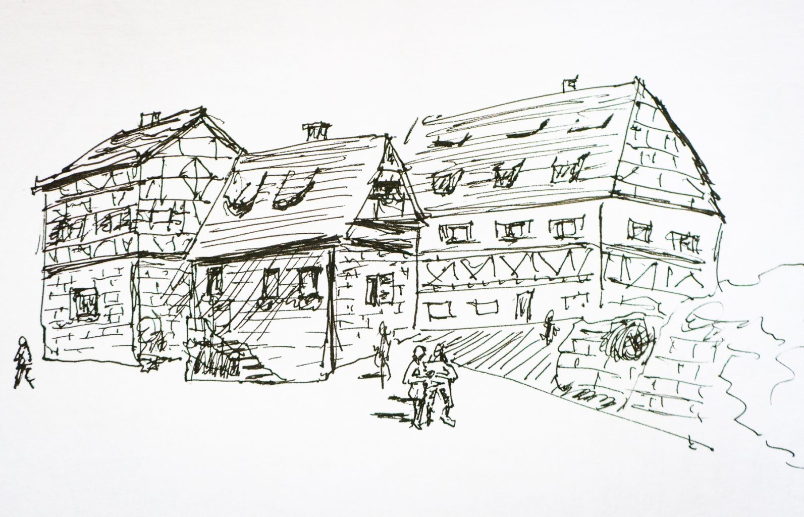 German town in ink