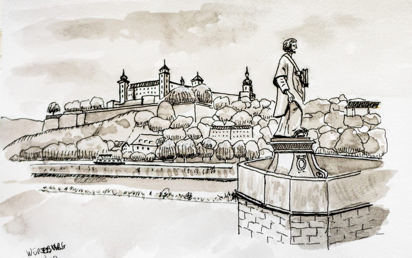 Pen and ink sketch of Wurzburg, Germany
