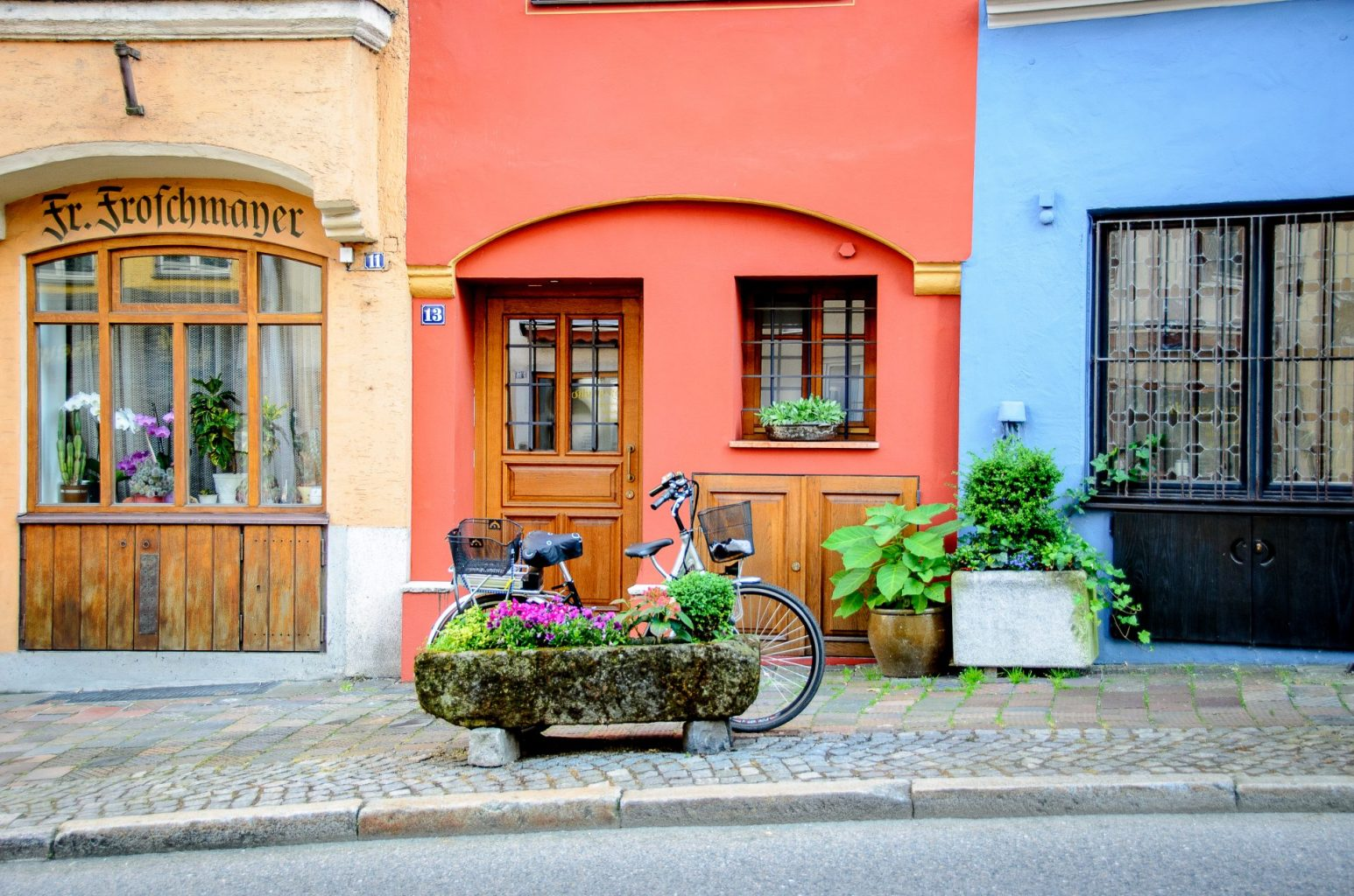 Hidden places: bike in front of buildings in Wasserburg, Germany